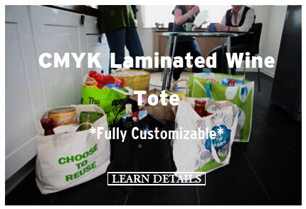 CMYK Laminated Wine Tote Fully Customizable