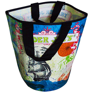 printed pp woven bag with nylon webbing handle